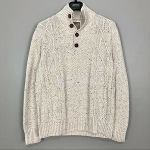 Guess 3D Knit Pullover Sweater Button Mock Neck
